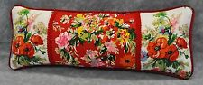 Pillow made w Ralph Lauren Belle Harbor White & Red Floral Fabric 17x7 trim cord
