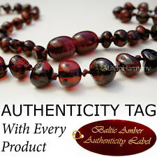 RARE DARK CHERRY Baltic Amber Baby Child Necklace
