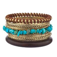 Lux Accessories Brown & Gold Turquoise Textured Woven Bangle Set