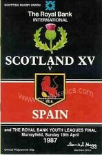 SCOTLAND v SPAIN 1987 RUGBY PROGRAMME 19 Apr at MURRAYFIELD