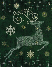 Starry Night Christmas Reindeer Wallhanging Panel Fabric Kit -Green- Sold by Kit