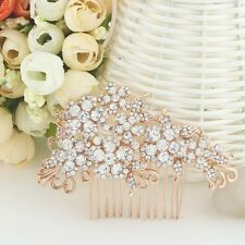 Bridal Wedding Clear Austrian Crystal Flower Hair Clip Comb Head Piece Rose Gold