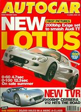 Autocar 12th April 2000, Lotus Exige, Diablo, TT Roadster, XKR, A140, Sport Clio