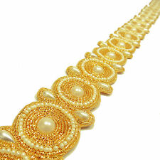 Gold 3.8 Cm Wide Beaded Trim Decorative Sari Border Crafting Supply By The Yard
