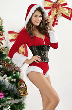 Sexy! 2 Piece Mrs. Claus Hooded Christmas Costume w/ Black Vinyl Corset 7129 USA
