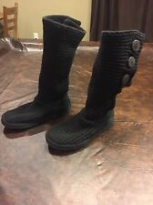 UGG Australia Womens Size 6 Black Sweater Boots #5819 Uggs Missing 1 Button
