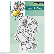 New Penny Black APRIL Slapstick Cling Rubber Stamp Girl Watercan Tulip Garden