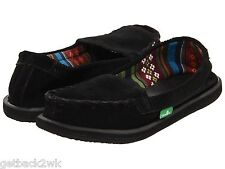 NEW sanuk 5.5 6 37 SANDAL FLIP FLOP SHOE SLIP ON Leather Moccasin Serrano Black