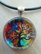 TREE OF LIFE & RAINBOW Glass Pendant with Leather Necklace