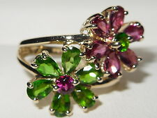Beautiful QVC 9ct yellow gold Rubellite & Diopside fancy 2 Flower cluster ring