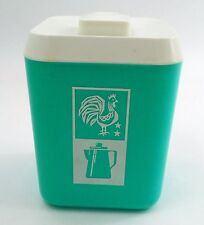 Atomic 1950s Turquoise & White Lustro Ware Plastic Morning Coffee Canister Caddy