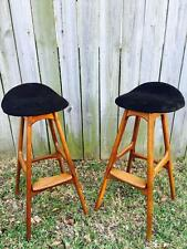 Matching Pair of 1960's Teak & Rosewood Bar Stools Designed by Erik Buck-Denmark