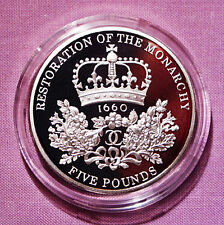 2010 SILVER PIEDFORT PROOF RESTORATION £5 CROWN IN CAPSULE