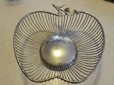Silver Plated Apple Shaped Wire Fruit Basket Tabletop Countertop - Hong Kong