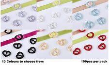 CraftbuddyUS 100pcs Peach Heart Ribbon Slider Buckles Wedding  Card Craft DIY