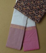 South Cotton pure handloom saree with Kalamkari ganga jamuna border Pink sand