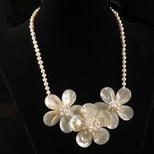 """k12209 Mother of pearl MOP Shell pearl flower fashion necklace 20"""""""