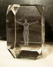 Crucifix Jesus on Cross 3D Hologram Laser Etched Crystal Glass Paperweight 3""