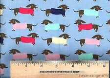 Fabric Dachshunds on Sky JL389-SKY Dear Stella French Lessons Collection