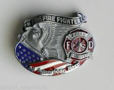 US FIRE DEPT FIGHTER AMERICAN HERO SERIES BELT BUCKLE 3.2 INCHES