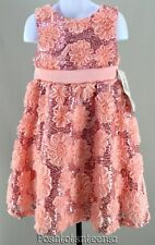 Rare Editions 5 Dress Blush Pink Floral Sequin Sash Party Girls NEW kg1