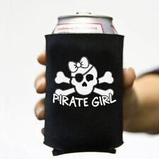 6 Lot Pirate Girl Skull Pirate Beer Pop Can Koozie Koolie Cooler Insulator Cozy