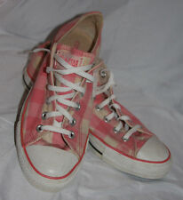 Converse All-Star Canvas Low Top Shoes Pink & White Plaid Checkered Size 10