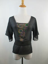 A41 TED BAKER LONDON WOMENS SZ 2 100% SILK BLACK MULTI COLOR EMBROIDERY BELT TOP