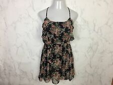 Mustard Seed Dress Size L Black Floral Boho Thin Straps Lace T Back Festival