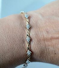 .65cttw natural diamond 10k solid Gold Flower Tennis Bracelet Fine Jewelry