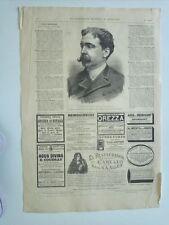 1885 Xilografía: Retrato S.E.D. Enrique Kubly Arteaga Ministo Uruguay