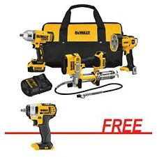 "DEWALT 20V Max 1/2"" Impact Wrench, Grease Gun, Spot Light Combo Kit w/FREE 20V"