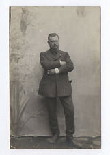 CARTE PHOTO Décor Toile peinte Postcard RPPC 1920 Homme Costume rayé Cigarre
