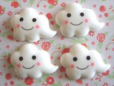 4 x Kawaii Smiley Clouds Flatback Resin Embellishment Crafts Bow Cabochon *UK*