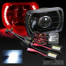 """7""""x6"""" H6054 Red LED Black Housing Glass Projector Headlights/8000K Xenon HID"""