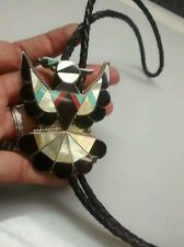 Very nice vtg. Native American Zuni A. Dashta sterling  turquoise inlay bolo tie