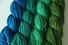 von Blau bis Grün  - handgefärbte Sockenwolle - 100g