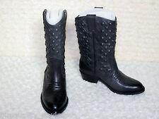 NEW Lucky Brand Madonna Studded Leather Rider Western BOOTS Womens 6 Ash Grey
