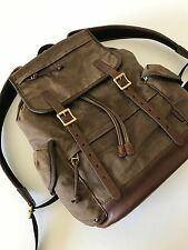 Fossil Men Brown Waxed Canvas Defender Rucksack Backpack Explorer Bag MBG9084200