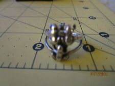 CUTE STERLING SILVER DETAILED FROG RING size 6 .5 FROGS