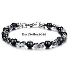 Stainless Steel Silver Link Black Black Magnetic Stone Ball Bracelet for Men