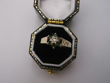 Women's 9ct Gold Vintage Diamond & Emerald Stone Ring Size J Weight 1.6g