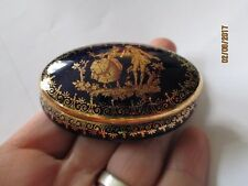Limoges France Cobalt Blue Gold Courting Couple Trinket pill Box victorian small