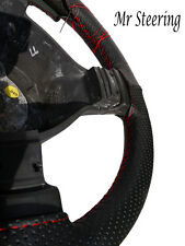 BLACK PERFORATED LEATHER RED STITCH STEERING WHEEL COVER FOR PEUGEOT 406 95-04