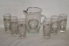 25th Silver  Wedding Anniversary Pitcher With 6 Glasses