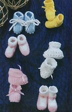 BABY KNITTING PATTERN TO MAKE VINTAGE BOOTEES 1-6 mths DOUBLE KNIT & 4ply