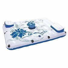 Pool Float 2 Person Inflatable Island Raft Lake Water Floating Summer Cooler Bag