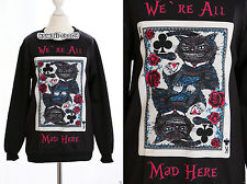 TY-Y101 Gothic Punk Poker Cat Katze Flower Sweatshirt Pullover Harajuku Japan