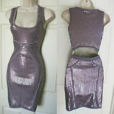 BEBE PURPLE  LAYLA SEQUIN BACK CUTOUT SWEATER DRESS NEW NWT XSMALL XS
