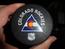 Rare 1980s COLORADO ROCKIES Viceroy – InGlasCo Game Puck with White NHL Logo